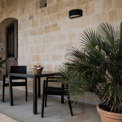 The entrance to the Deluxe Room with Panoramic Porch in the renovated seventeenth century palazzo in Mdina housing The Xara Palace Relais & Chateaux in Mdina, Malta