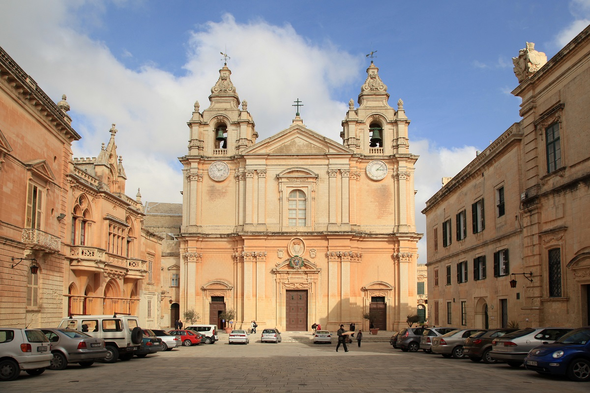 The Mdina Co-Cathedral, situated in the magnificent piazza which served for a lot of backdrops in international movies