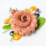 Sous Vide Octopus Tomato & Garlic Aioli & Squid Ink at the de Mondion Restaurant, One MICHELIN Star Restaurant in Mdina, Malta