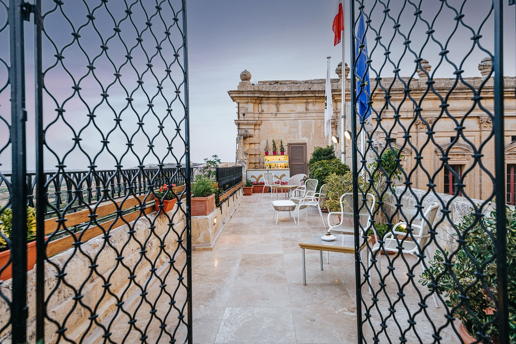 The Lower Terrace of the de Mondion Restaurant at The Xara Palace in Mdina, Malta